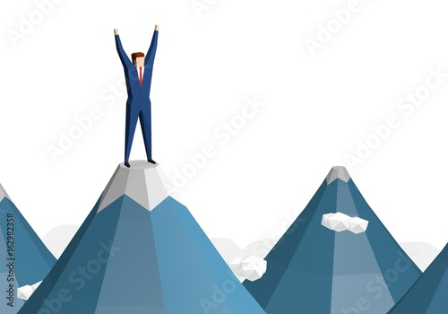 Fotografija  Businessman success hiking on the peak of rocks mountain
