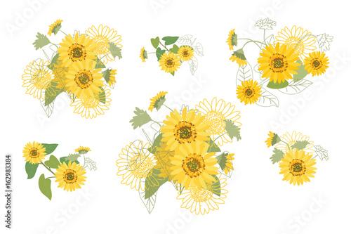 Vector Illustration Yellow Sunflowers Canvas-taulu