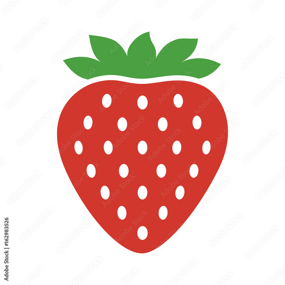 Fototapety, obrazy: Garden strawberry fruit or strawberries flat color vector icon for food apps and websites