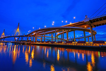Fototapeta na wymiar Beautiful Big Bhumibol Bridge and reflections of light / Big bridge at the river