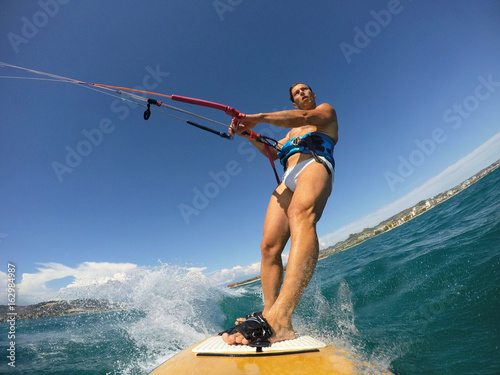 Kite surf session view from an action cam