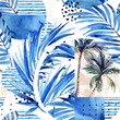 Leinwanddruck Bild - Watercolor tropical floral geometric shapes seamless pattern.