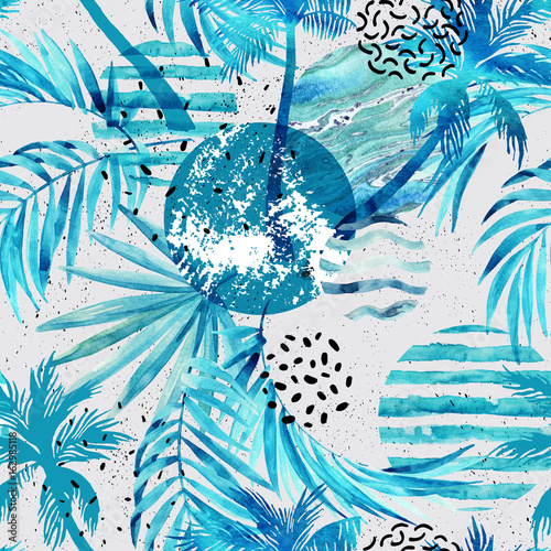 Fototapeta na wymiar Abstract summer tropical palm trees and leaves background.