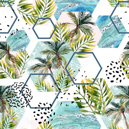 akwarela-tropikalny-lisci-i-palm-w-wzor-geometryczny-ksztaltow
