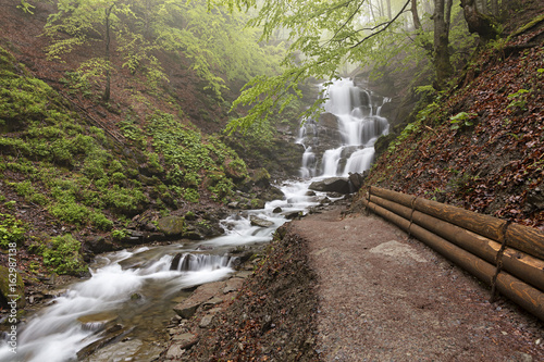 Foto auf Gartenposter Forest river Carpathians. A path to the great waterfall of a mountain river. Ukraine.