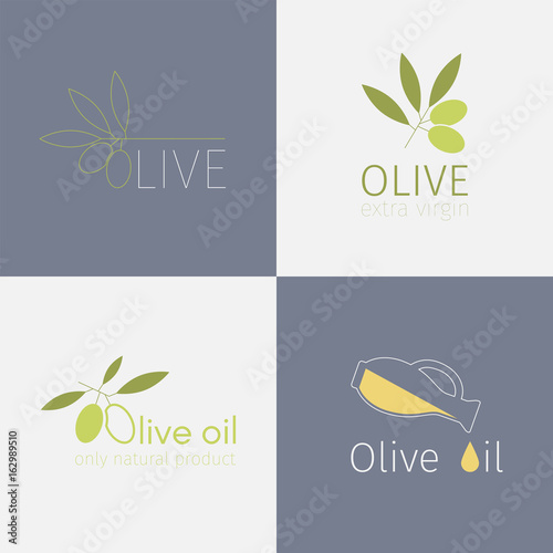 Fototapeta Set of olive labels obraz na płótnie
