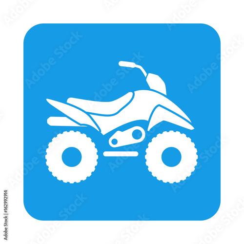 Icono plano quad lateral en cuadrado azul