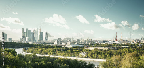 Panoramic view of Moscow city from Sparrow Hills, Russia