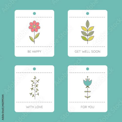 Fényképezés  Set of floral cards