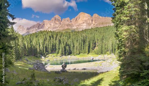 Poster Reflexion Il Lago di Carezza con le dolomiti
