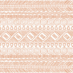 Hand Drawn Tribal Boho Seamless Pattern. Ethnic Geometric Vector Print. Backg...