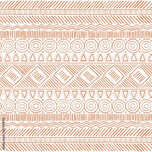 Photo sur Toile Style Boho Hand Drawn Tribal Boho Seamless Pattern. Ethnic Geometric Vector Print. Background Texture.