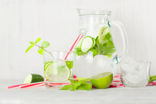 Detox Water In A Glass Jug And...