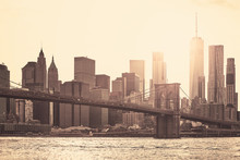 Manhattan At Sunset, Sepia Ton...