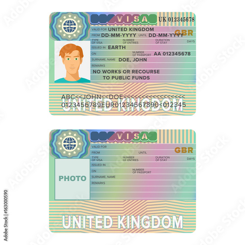 Poster  United Kingdom or England visa passport sticker templates.