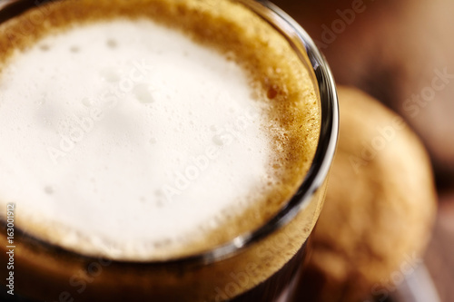 Glass of Espresso Macchiato (close up)