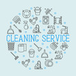 Cleaning service concept with thin line icons in circle: gloves, iron, washer, robot vacuum cleaner, brushes and other accessories for household. Vector illustration for banner, web page, poster.