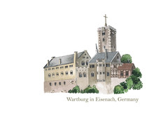 Wartburg In Eisenach, Germany, The Place Where Martin Luther Translated The New Testament Of The Bible Into German. Watercolor Illustration. 500th Protestant Reformation