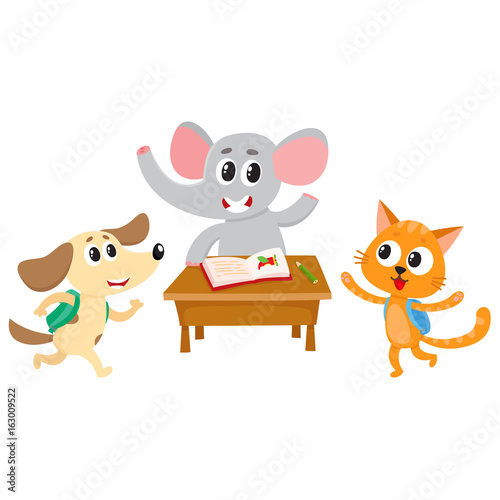 Amazing Cute Animal Students Elephant Cat And Dog Back To School Download Free Architecture Designs Scobabritishbridgeorg