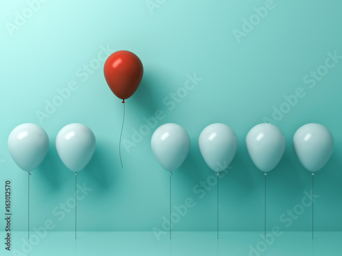 Fotografía  Stand out from the crowd and different concept , One red balloon flying away from other white balloons on light green pastel color wall background with reflections and shadows