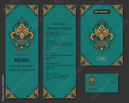 Indian Food Restaurant Menu Template Food Flyer Business Card