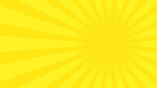 Abstract Background With Cartoon Rays Of Yellow Color. Template For Your Projects. The Cartoon Sun. Halftone Effect. Flat Style