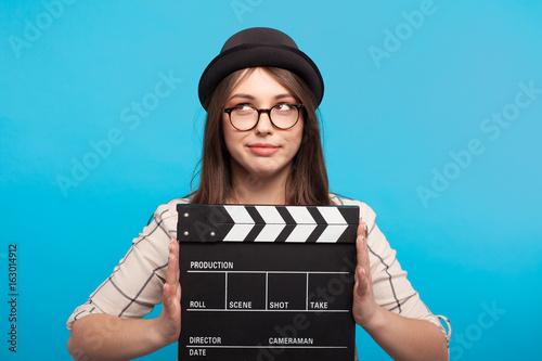 Fotografía Expressive model with clapboard