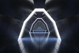 Fototapeta Do przedpokoju - Futuristic long corridor in spaceship. 3D rendered illustration.