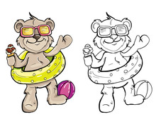 Bear With Ice Cream Color And Black And White. For Coloring The Book
