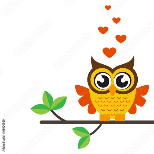 Poster Uilen cartoon cartoon owl with heart on a branch
