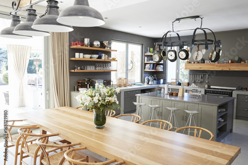 Fotomural  Home Interior With Open Plan Kitchen And Dining Area