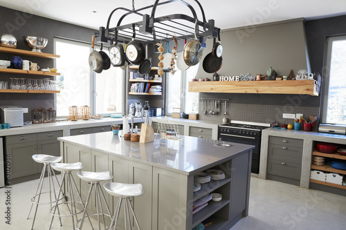 Photo  Kitchen Area Of Modern Home Interior With Island And Appliances