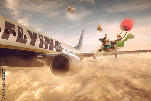 Fototapeta Woman flying in the wing of a moving plane, over clouds with luggage, lowcost holiday obraz