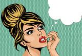 Fototapeta Młodzieżowe - Pop art vintage comic style woman with open eyes dreaming, female portrait with speech bubble vector