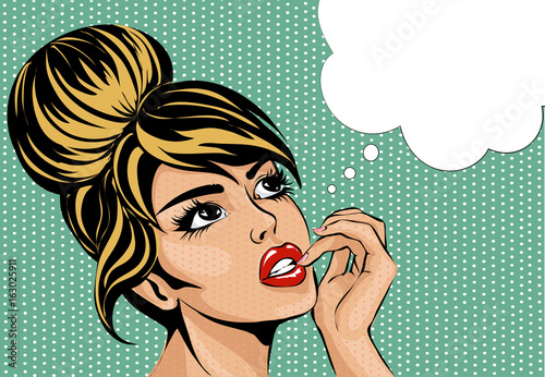 Tuinposter Pop Art Pop art vintage comic style woman with open eyes dreaming, female portrait with speech bubble vector