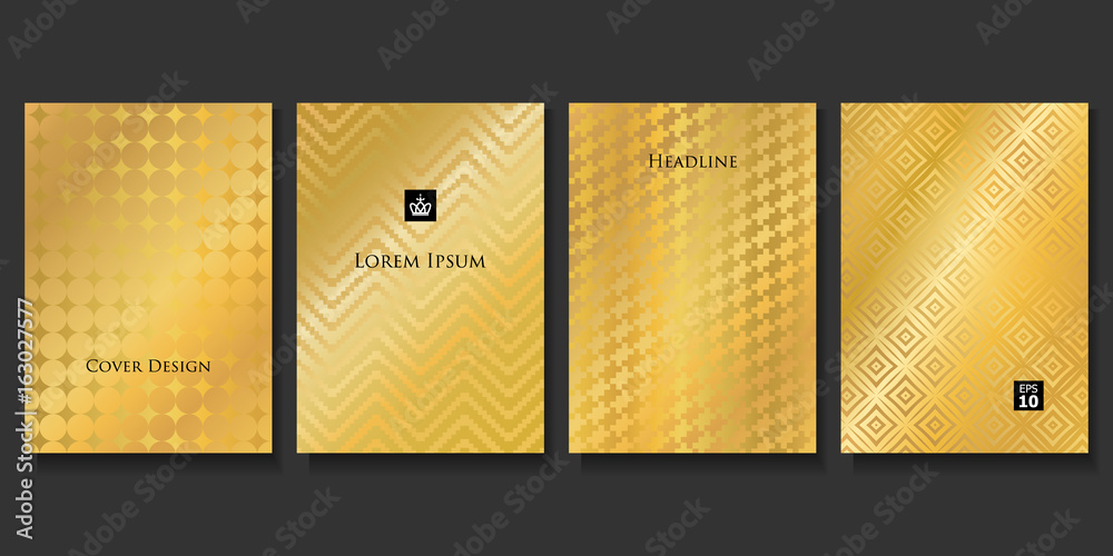 Set of Vector Geometric Gold Backgrounds. Applicable for Brochures, Banners, Party Invitations, Posters and Fliers.