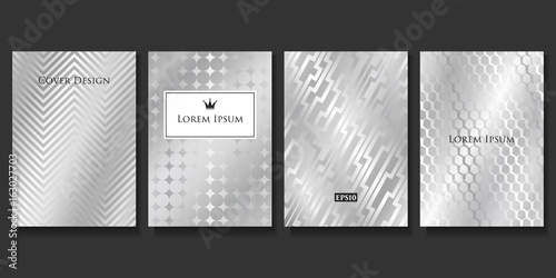 Fototapeta Set of Vector Geometric Silver Templates. Applicable for Brochures, Banners, Party Invitations, Posters and Fliers. obraz