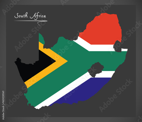 Canvas Print South Africa map with national flag illustration