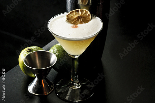 cocktail pisco sour in a bar Canvas Print