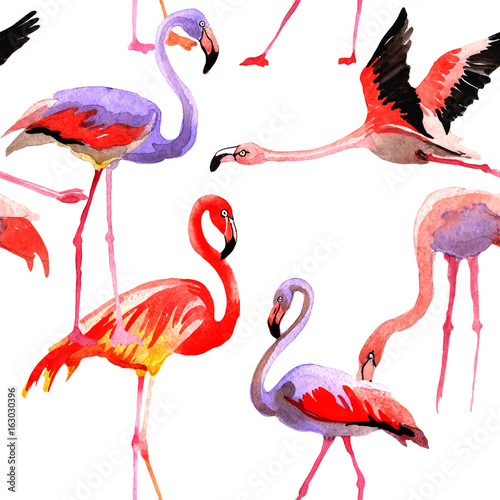 Keuken foto achterwand Flamingo Sky bird flamingo pattern in a wildlife by watercolor style. Wild freedom, bird with a flying wings. Aquarelle bird for background, texture, pattern, frame, border or tattoo.