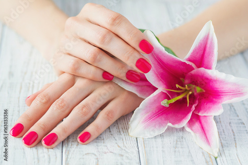 Obraz na plátně  Beautiful woman hands with pink manicure and lily, spa beauty treatment