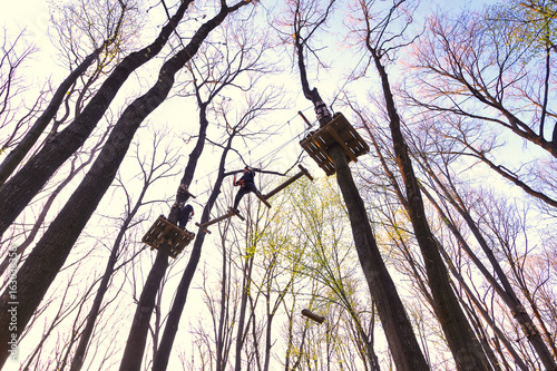 Foto op Plexiglas Aap People climbing the obstacles in the trees for recreation in