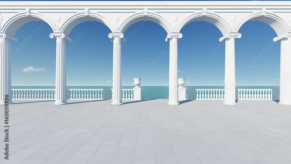 Fototapety, obrazy: 3d render from imagine wedding backdrop classic in Italy relax sea view