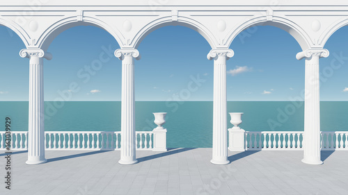 3d render from imagine wedding backdrop classic in Italy clear sea view