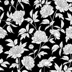 Panel Szklany Peonie Luxurious peony wallapaper in vintage style. Seamless floral pattern with blossom flowers. Vector illustration.