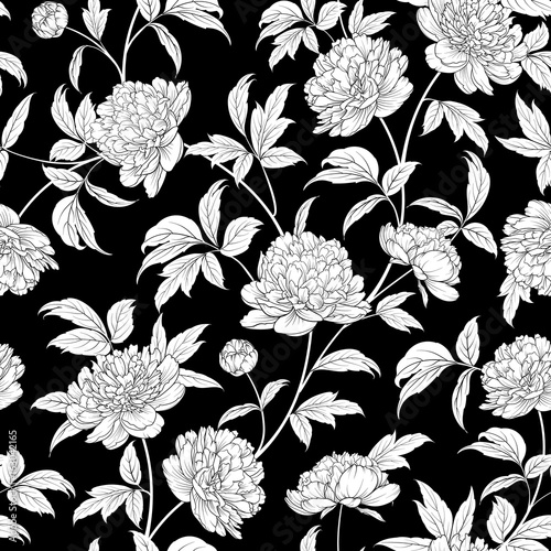 Luxurious peony wallapaper in vintage style. Seamless floral pattern with blossom flowers. Vector illustration. - 163042165