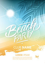 Beach Party Poster With Hand L...