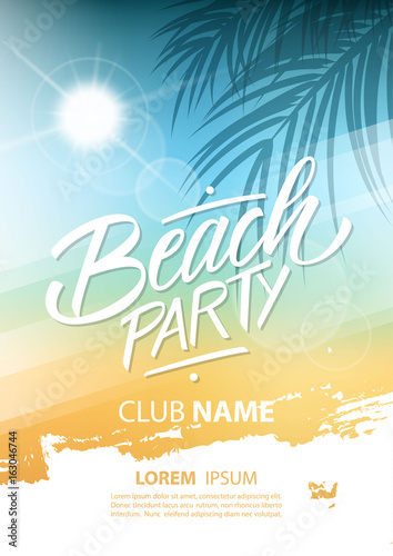 Beach party poster with hand lettering and palm leaves. Vector illustration. © finevector