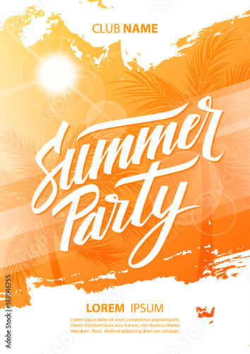 Summer party poster with hand lettering and palm trees. Vector illustration © finevector