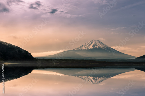 Mountain fuji at Motosu lake at sunrise,Japan